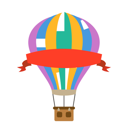 Aerostat air balloon with red advertising ribbon design flat icon isolated on white vector illustration