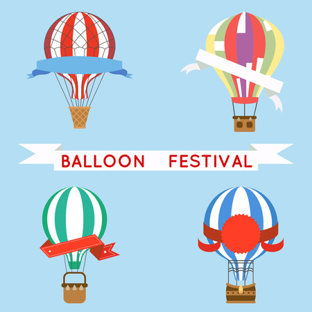 Cartoon aerostat air balloon festival flight sky travel basket retro airship icons set design vector illustration Stock Illustratie