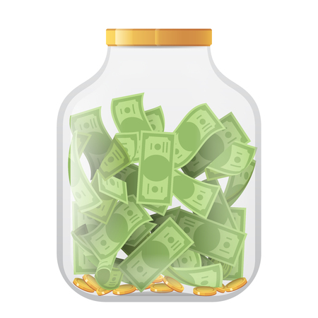 Money economy saving bank coin banknote deposit glass pot jar moneybox isolated on white mockup icon realistic 3d design vector illustration