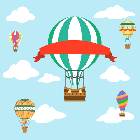 Fly sky clouds aerostat air balloon with red ribbon advertising flat design icon vector illustration Stock Illustratie