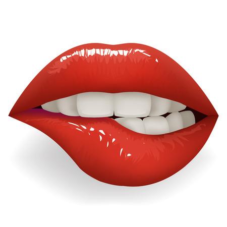 Dientes mordiendo labios rojos brillantes boca femenina elegante mujer lápiz labial moda cosméticos maqueta aislado en ilustración de vector de diseño blanco