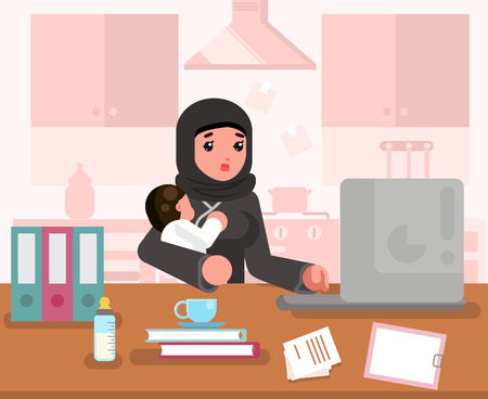 Arab working learning mother woman with child home office room interior background traditional dress design flat concept template vector illustration 일러스트