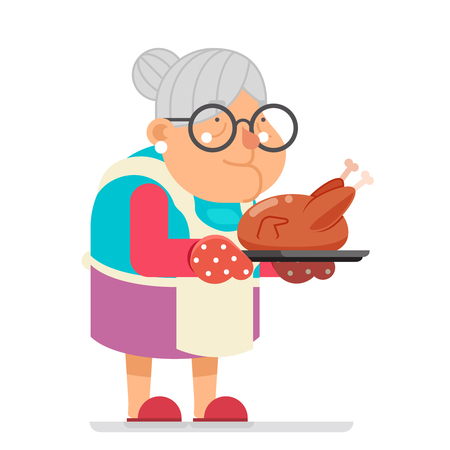 Grandmother old mother adult woman with fried chicken turkey housewife with baking flat design template concept vector illustration