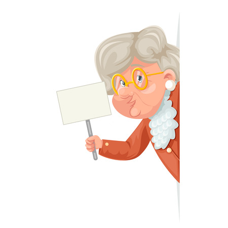 Handbill poster in hand wise advice look out corner grandmother talking old woman character granny adult icon cartoon design vector illustration 일러스트