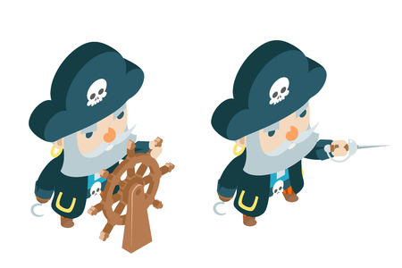Capitan corsair pirate ship buccaneer filibuster sea dog sailor fantasy RPG treasure game isometric flat design vector illustration character Ilustração