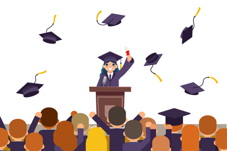 Students celebrate rejoice flying graduation hats tribune speech crowd female graduate solemn character isolated on white flat design vector illustration