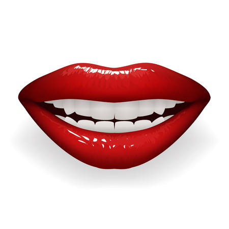 Red glossy lips female smile mouth teeth stylish women lipstick fashion cosmetics mockup isolated on white design vector illustration Ilustração