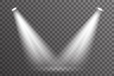 Doppelstrahlszenenscheinwerferbeleuchtung helles elektrisches Effektglühen spezielles abstraktes Aufflackern transparente eingestellte Hintergrundvektorillustration Vektorgrafik