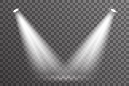 Double rayon scène projecteur éclairage lumière effet électrique lumineux lueur spéciale abstraite flare transparent ensemble fond illustration vectorielle Vecteurs