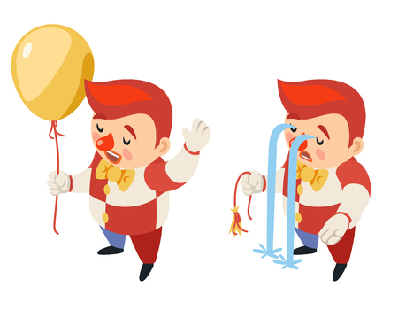 Burst balloon isometric circus party fun sad carnival river of tears clown funny cry blow up performance character isolated icon 3d flat design vector illustration
