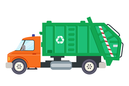 Garbage truck car machine recycle trash transportation automobile flat design vector illustration  イラスト・ベクター素材