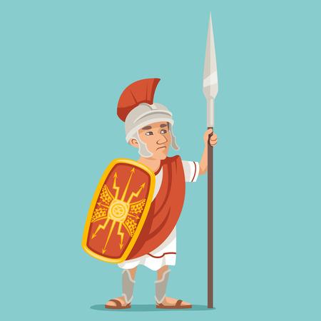Spearman legionnaire warrior soldier spear shield greek roman retro vintage character icon design cartoon vector illustration