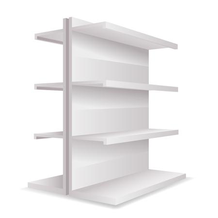 Blanc vide magasin 3d commerce étagères espace modèle maquette réaliste isolé sur blanc illustration vectorielle
