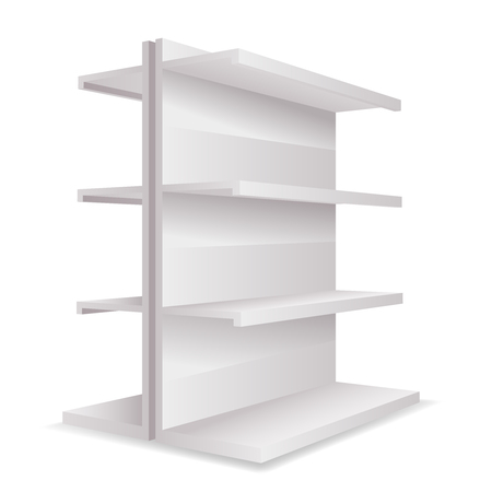 White empty Store 3d trade shelves space template realistic mockup isolated on white vector illustration