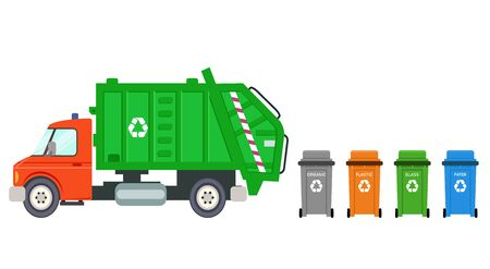 Trash recycle transportation truck garbage can car machine automobile flat design vector illustration