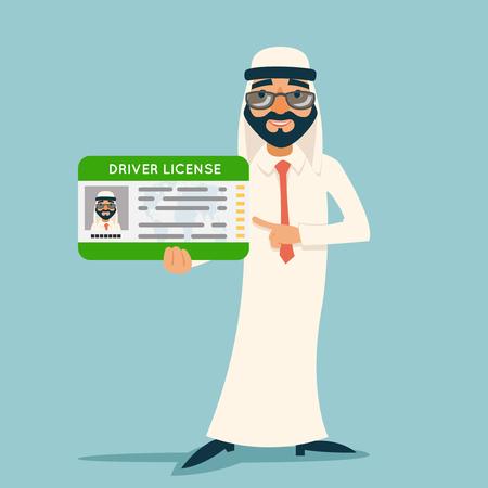 Cartoon character arab car driver license businessman traditional national muslim clothes design retro vector illustration