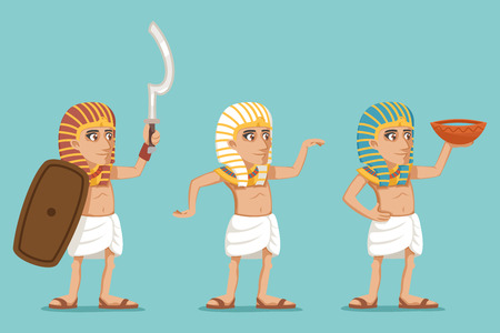 Ancient egyptian people traditional wear warrior character water seller icons set cartoon design vector illustration