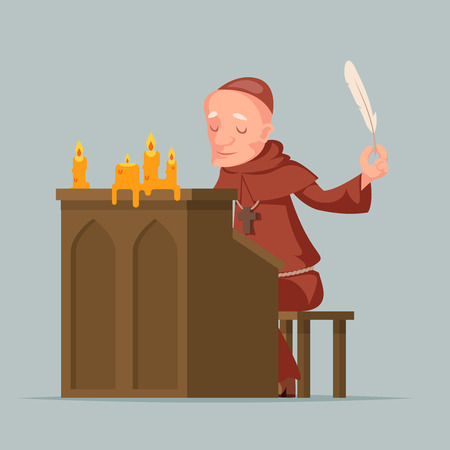 Monk write chronicles historical events writer scribe medieval stand feather pen ink scroll copy candles chronicler cartoon design vector illustration 일러스트