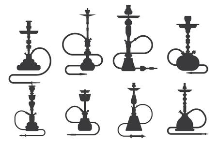 Shisha Silhouette Shisha türkisches Aroma Lifestyle orientalische Kultur Rauchwolke arabisches Café Set Vector Illustration