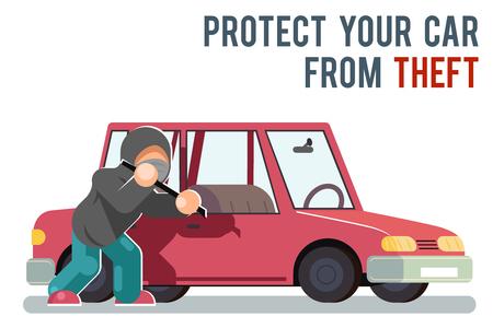 Protection de voiture automobile isolée voler cambrioleur voleur voleur danger homme sac à main vol caractère design plat illustration vectorielle
