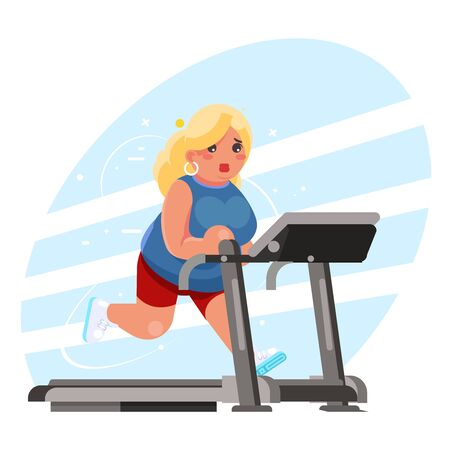 cute fat woman cardio running treadmill simulator fitness gym run exercise training lose weight concept flat design vector illustration