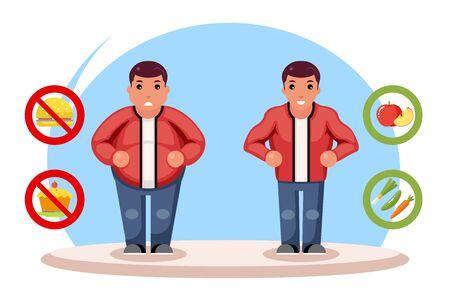 Beauty figure body diet fat man character lose overweight health refusal junk food flat cartoon design vector illustration