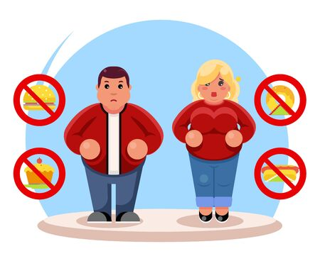 Fat people diet character beauty figure body lose overweight health refusal junk food flat cartoon design vector illustration 矢量图像