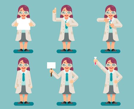 Female wise smart scientist chemical test tubes experiment woman cartoon flat design character icons set vector illustration