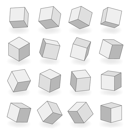 Polygon mesh 3d modeling square blocks volume angle turn isometric isolated design icons vector illustration Banco de Imagens - 124254991