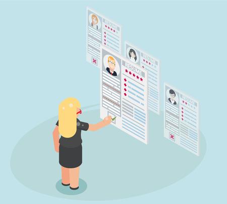 Geschäftsfrau Einstellung Rekrutierung Arbeiter Personal Stellenangebot Kandidat Internet-App-Seite Lebenslauf Rekrutierung Job Wahl Geschäftsmann isometrische flache Design-Vektor-Illustration Vektorgrafik