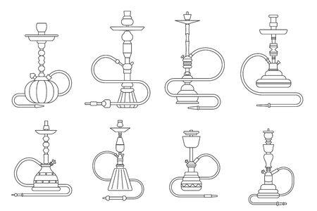 Lineart oriental culture smoke cloud arabian cafe hookah shisha turkish aroma lifestyle outline isolated icons set vector illustration Иллюстрация