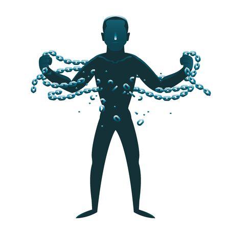 Rebellion little man release breaking chains liberation cartoon silhouette design concept vector illustration