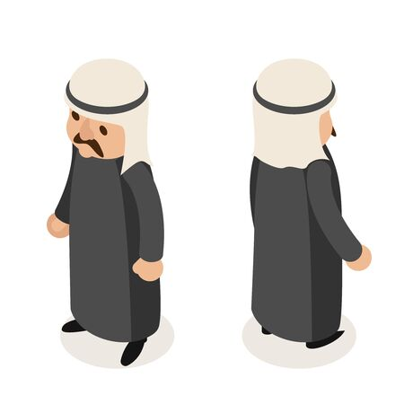 Arab businessman traditional national ethnic muslim clothes isometric isolated character flat design vector illustration