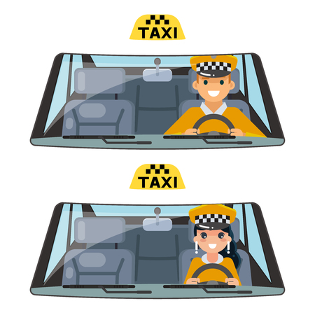 Taxi vehicle interior driver worker car wheel ride male female driving transportation isolated flat design vector illustration