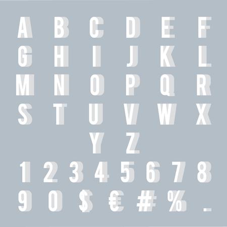 Numbers letters 3d alphabet decoration element symbol set design vector illustration