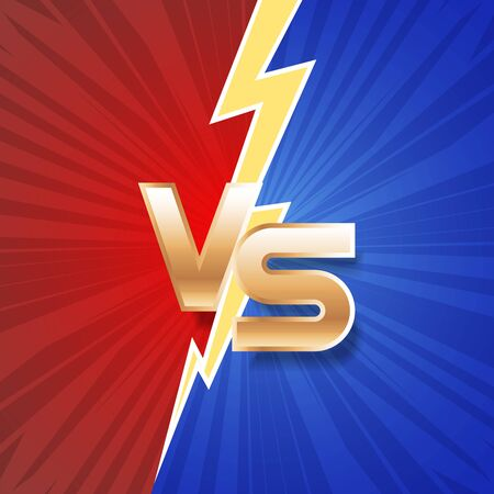 Lightning strike vs letter energy conflict game versus screen action fight competition background vector graphic illustration Ilustrace