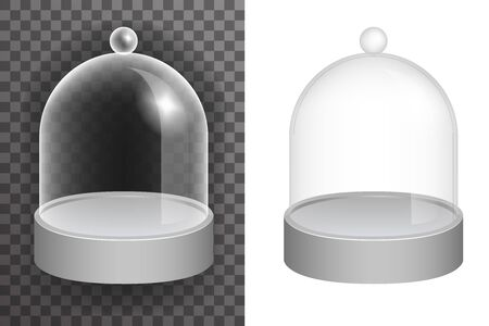 Isolated dome glass showcase box isolated 3d realistic shop glossy mockup transparent background design vector illustration Ilustrace