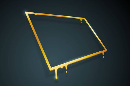 Warped distorted creative golden melting frame 3d flowing art flux square gold drop leak abstract banner template design template vector illustration Ilustracja