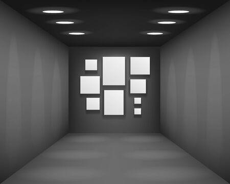 Black showroom art gallery empty museum room interior background perspective with blank paper square frame template vector illustration  イラスト・ベクター素材