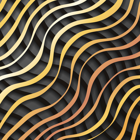Gold black paper waves 3d realistic template design background vector illustration Ilustração