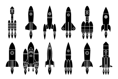 Silhouette space rocket start up launch science star exploration innovation design icons isolated on white set vector illustration
