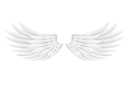 White bird angel animal fly wings 3d realistic decorative feather design object isolated on white vector illustration Banque d'images - 131589070