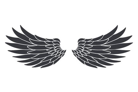 Silhouette bird angel animal wings fly decorative feather design black object isolated on white vector illustration Banque d'images - 131589079