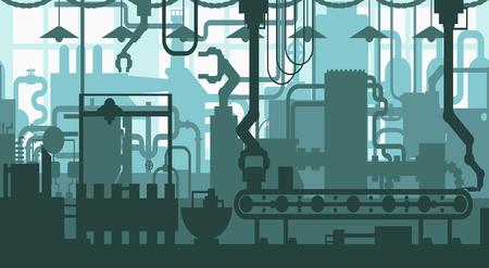 Seamless factory plant conveyor line production development industrial interior flat pattern design decoration background concept illustration