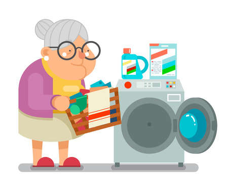 Old woman lady wash dirty clothes laundry washing machine household granny character flat cartoon design vector illustration Illustration