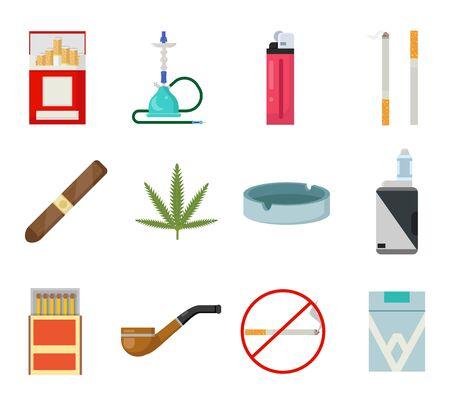 Smoking icons set cigarette pipe vape hookah matches ashtray isolated flat design vector illustration 일러스트