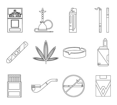 Lineart design smoking icons set cigarette pipe vape hookah matches ashtray isolated lineart design vector illustration Stock fotó - 131589081