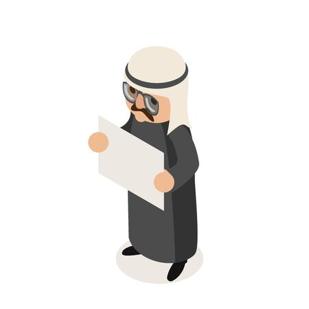 Blank paper sheet promotion arab businessman traditional national ethnic muslim clothes isometric isolated character flat design vector illustration