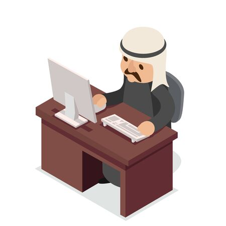 Office work table PC arab businessman traditional national ethnic muslim clothes isometric isolated character flat design vector illustration