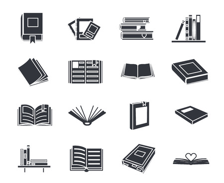Book silhouette education reading icons set isolated vector illustration
